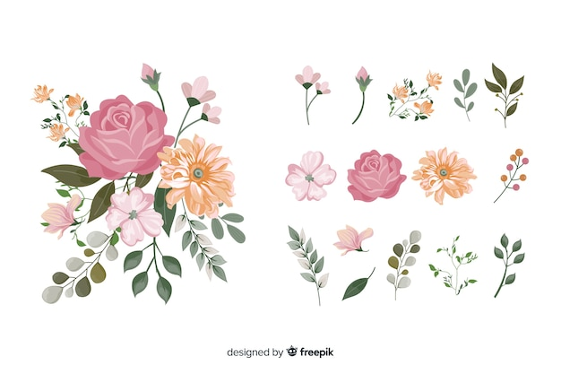 Ramo de flores 2d realista vector gratuito