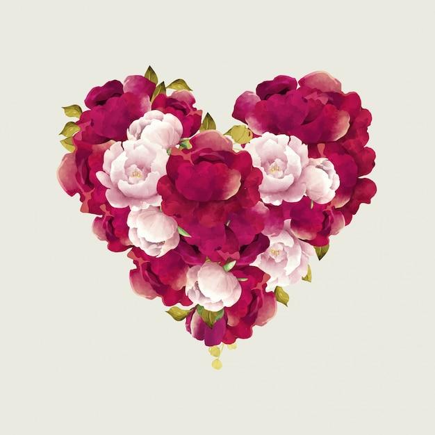 Ramo De Flores En Forma De Corazón Descargar Vectores Premium