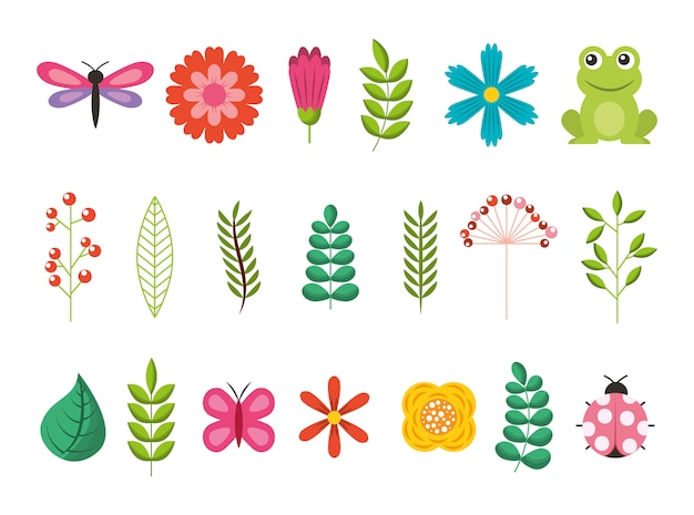 Ramo de flores con hojas y jardín de animales vector gratuito