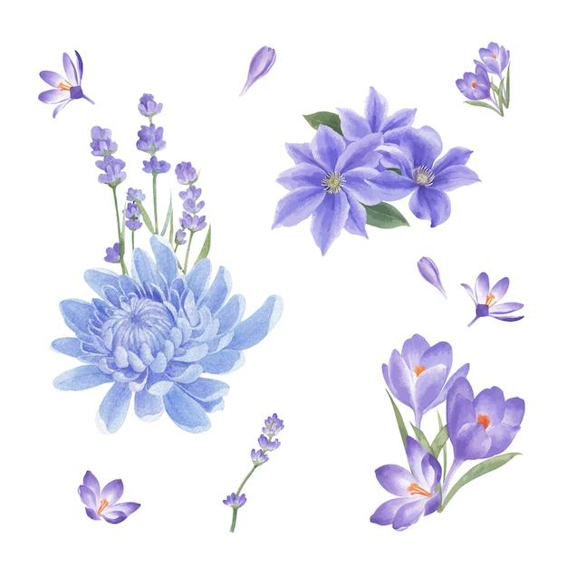 Ramo de flores de invierno con crisantemo, lirios vector gratuito