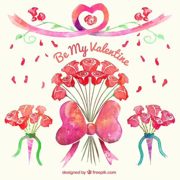 ramos de rosas de acuarela para san valentn vector gratis