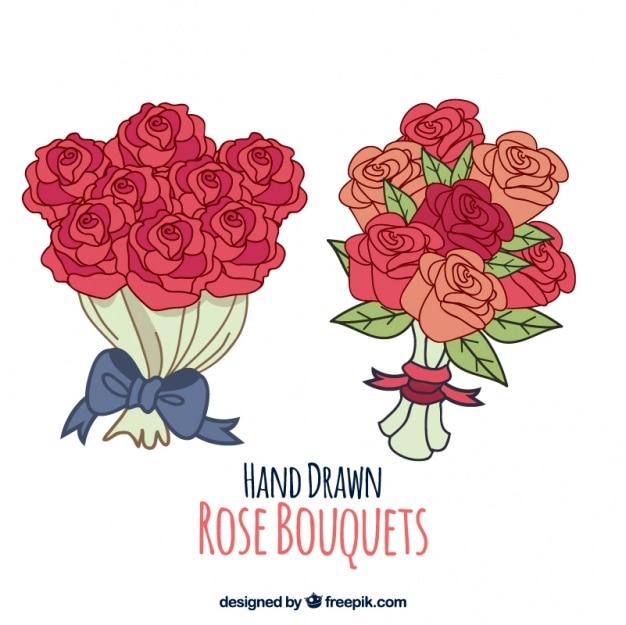 ramos de rosas dibujados a mano vector gratis