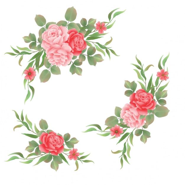 Ramos de rosas estilo acuarela Vector Premium