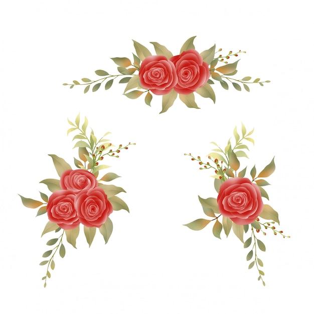 Ramos de rosas rojas y hojas de acuarela Vector Premium