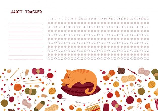Rastreador de hábitos por mes. organizador personal en blanco temático de tejer con marco decorativo. vector gratuito