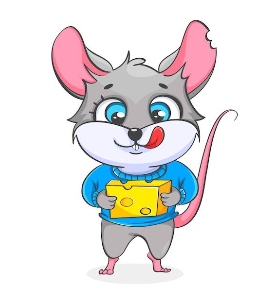 Rata con ilustración de queso Vector Premium