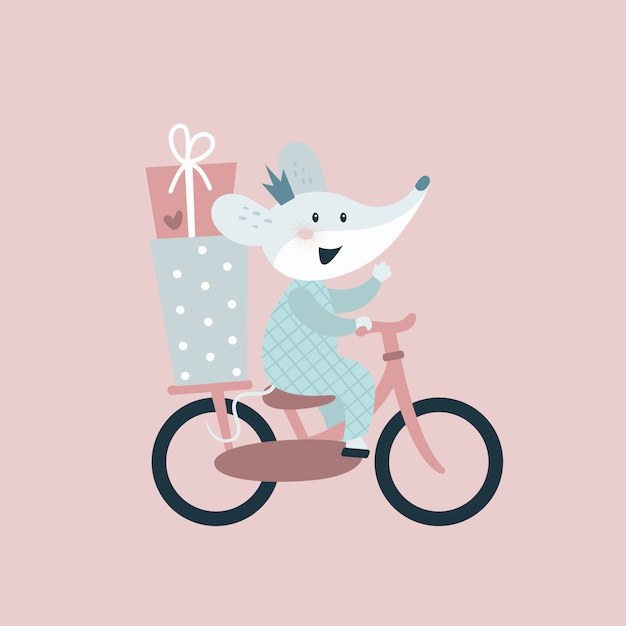 Ratón en bicicleta con regalos. tarjeta de feliz cumpleaños Vector Premium