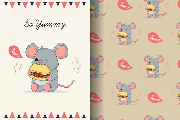 Ratón lindo comiendo hamburguesa de patrones sin fisuras y tarjeta Vector Premium