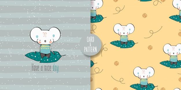 Ratón lindo de patrones sin fisuras e ilustración Vector Premium