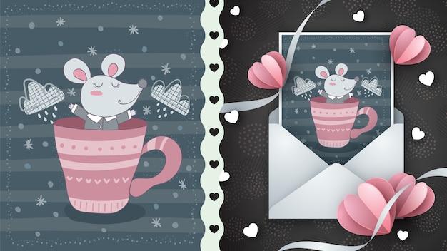 Ratón lindo en taza - tarjeta de felicitación Vector Premium