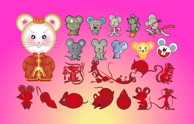 ratones dibujos animados Vector Gratis