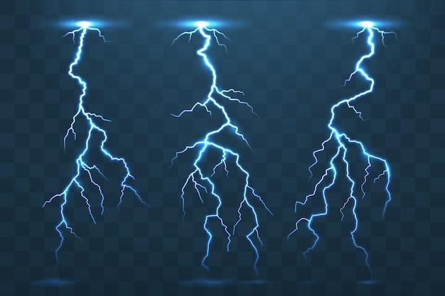 Rayo de trueno y relámpagos, tormenta eléctrica, flash. Vector Premium