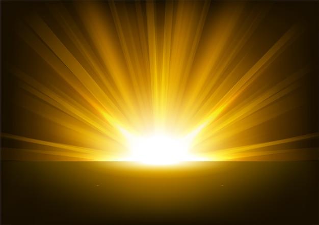 Rayos De Sol Vector: Rayos Dorados Elevándose Sobre Fondo Oscuro Ilustración
