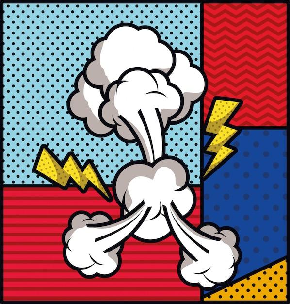 Rayos y humo pop art estilo ilustración vectorial vector gratuito