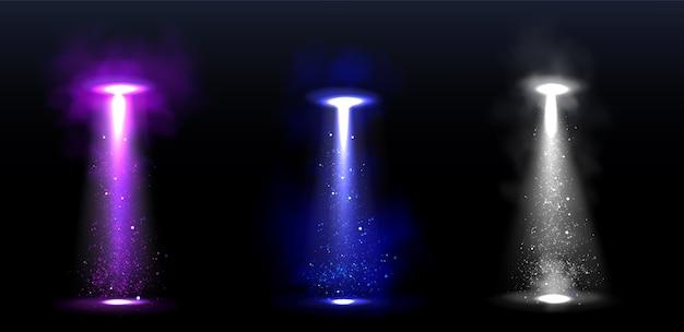 Rayos de luz ovni, rayos brillantes de naves espaciales alienígenas. vector gratuito