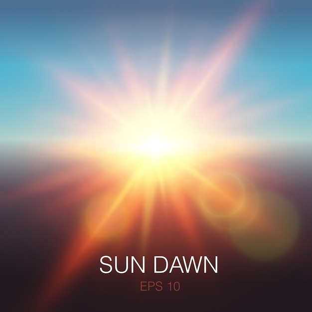 Rayos realistas del amanecer del sol de color naranja y destellos de lentes en el cielo azul vector gratuito