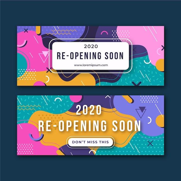 Reabrir pronto estilo de banner vector gratuito