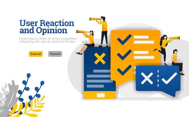 Reacción del usuario y opinión de conversación con aplicaciones. para marketing y publicidad de la industria de la ilustración. Vector Premium