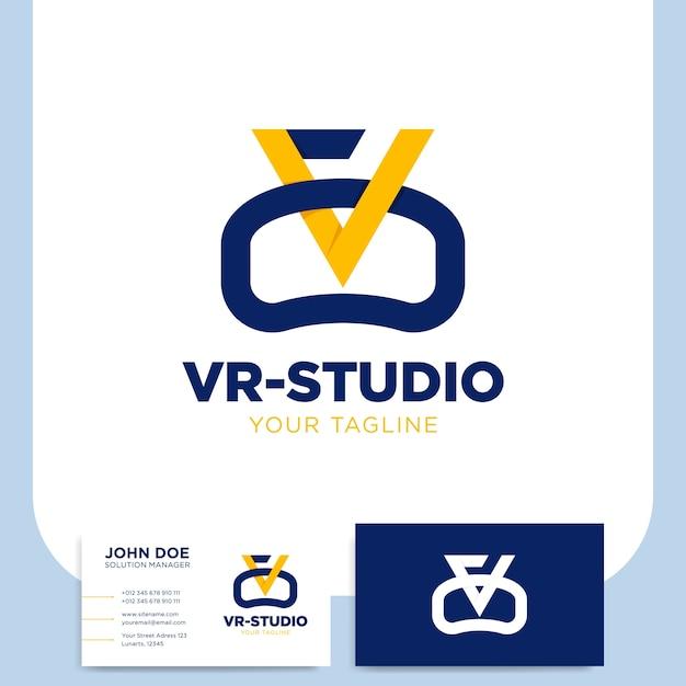 Realidad virtual o logotipo de monograma de letra vr con tarjeta de visita Vector Premium
