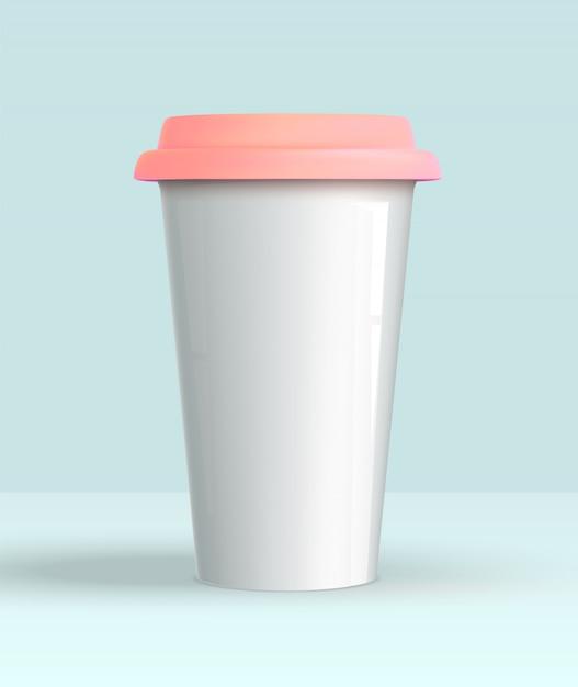 Realista 3d taza de café blanco maqueta Vector Premium
