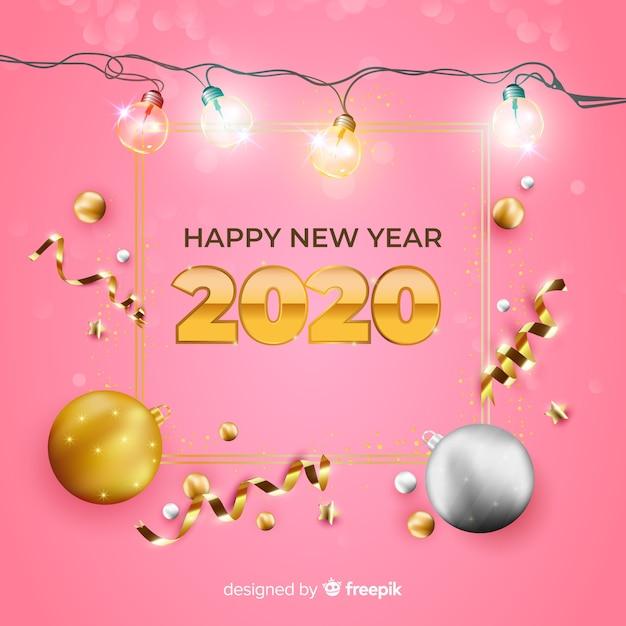Realista año nuevo 2020 sobre fondo rosa vector gratuito
