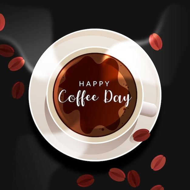 Realista día internacional del café. vector gratuito