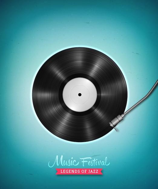 Realista disco de vinilo lp de larga duración. expediente de gramófono de vinilo vector vintage Vector Premium