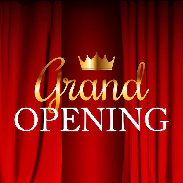 Realista inauguración colorida cortina de terciopelo rojo doblada. ilustración Vector Premium