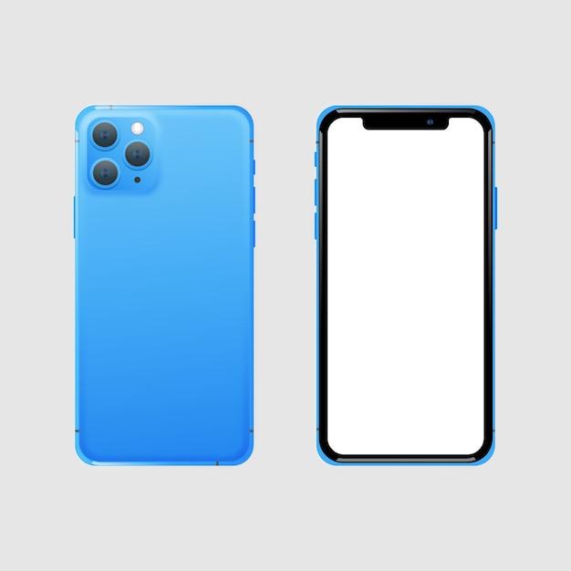 Realista teléfono inteligente azul frontal y posterior vector gratuito