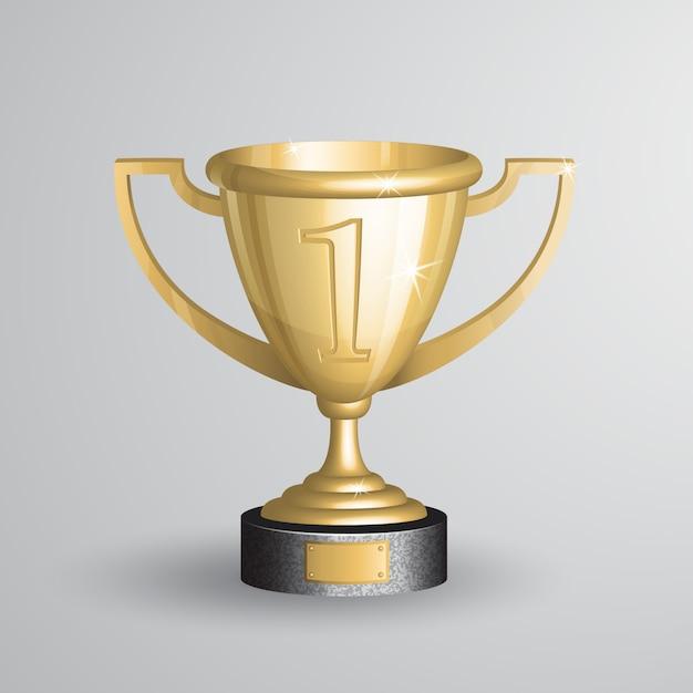 Realista del trofeo del campeonato de oro, copa vector gratuito