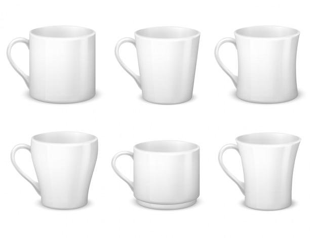 Realistas tazas de café blanco en blanco con asa y tazas de porcelana. Vector Premium