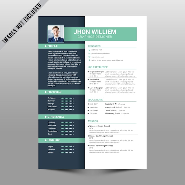 Reanudar gris claro y verde suave | Descargar Vectores Premium