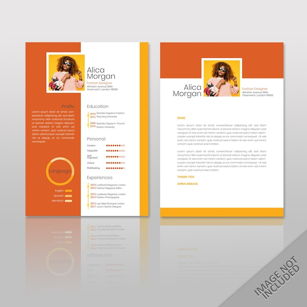 Reanudar orange square print listo | Descargar Vectores Premium