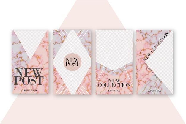 Rebajas colección instagram stories en estilo mármol vector gratuito