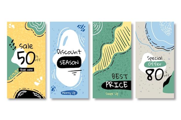 Rebajas colección instagram stories en estilo terrazo vector gratuito