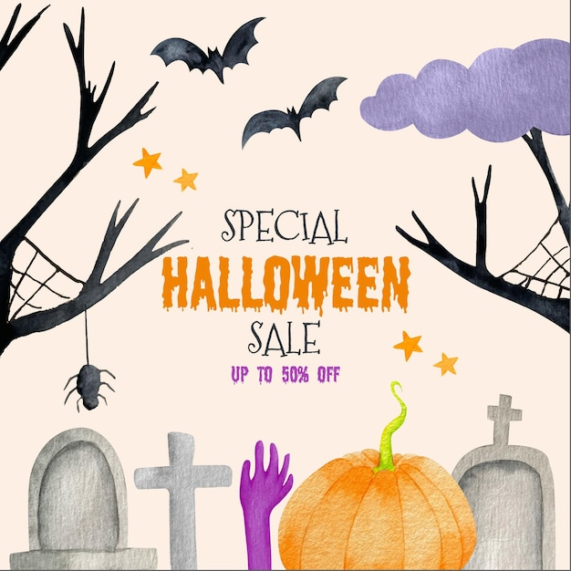 Rebajas de halloween en acuarela vector gratuito