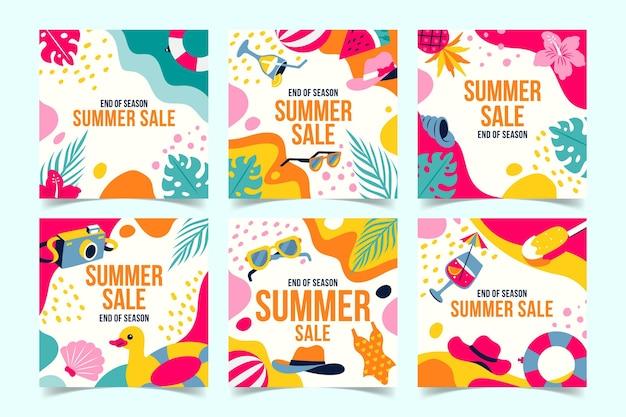 Rebajas de verano de fin de temporada publicaciones de instagram vector gratuito