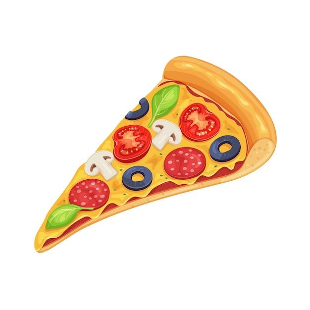 Rebanada de pizza con tomate, pepperoni y champiñones. Vector Premium
