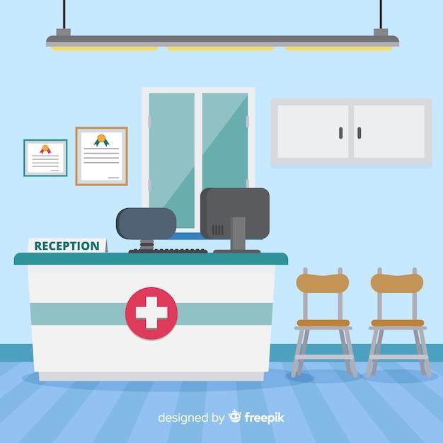 Recepción de hospital con diseño plano Vector Premium