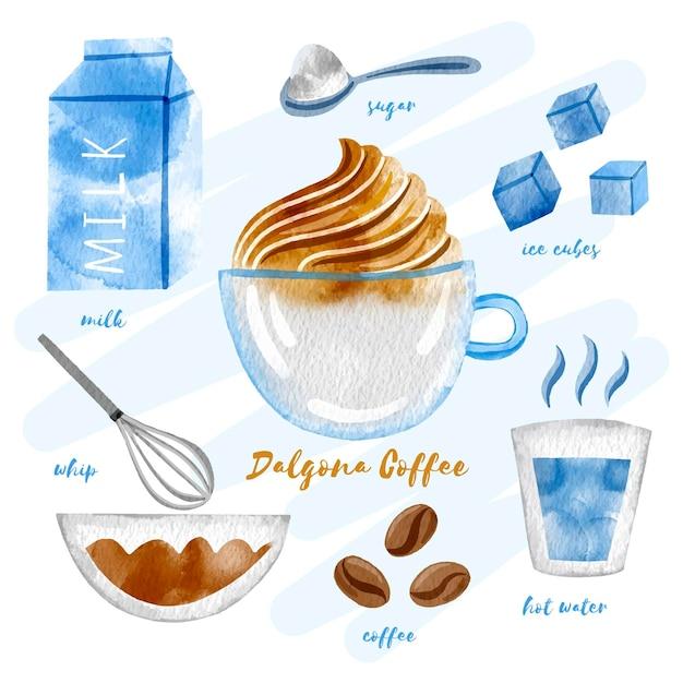 Receta de café dalgona vector gratuito