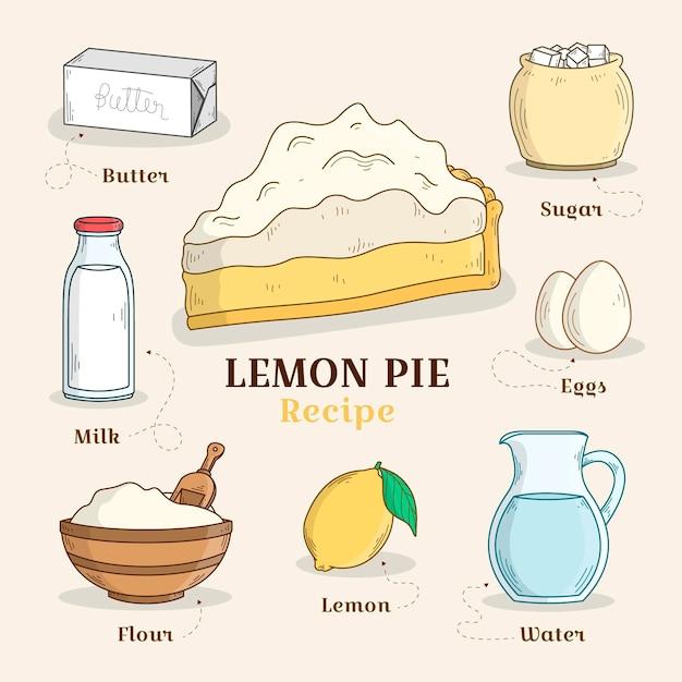 Receta dibujada a mano tarta de limón vector gratuito