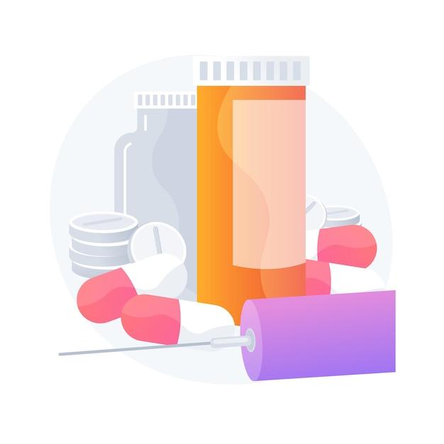 Receta de medicamentos. tratamiento de enfermedades, atención médica, medicamentos. frascos de pastillas, cápsulas y jeringas con vacuna. productos de farmacia. ilustración de metáfora de concepto aislado de vector vector gratuito