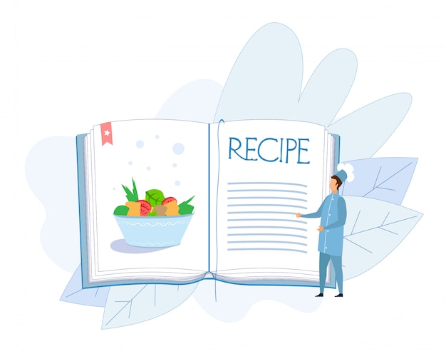 Receta de plato de verduras en el libro de cocina Vector Premium