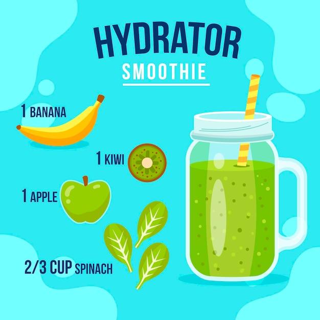 Receta saludable de batidos con frutas verdes y plátano vector gratuito