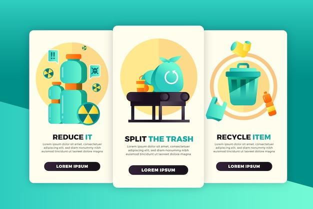 Reciclar pantallas de aplicaciones de incorporación configuradas vector gratuito