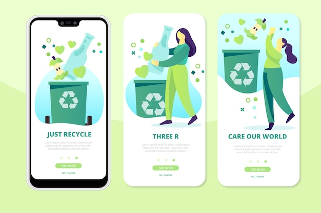 Reciclar pantallas de aplicaciones en el teléfono vector gratuito