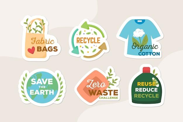 Reciclar y usar insignias ecológicas de artículos naturales vector gratuito