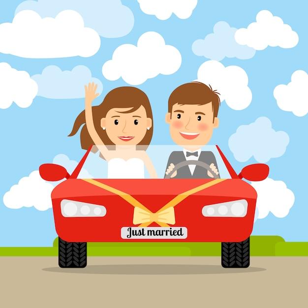 Recién casado en coche rojo. Vector Premium