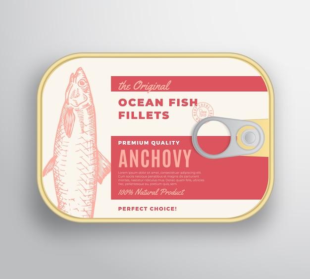 Recipiente de aluminio de filetes de pescado abstracto del océano con tapa de etiqueta. envases enlatados premium. vector gratuito