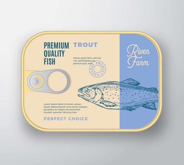 Recipiente de aluminio de pescado abstracto con tapa de etiqueta. envases enlatados premium retro. vector gratuito
